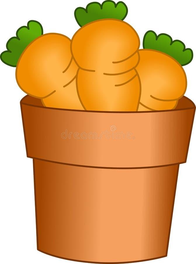 Carote nel giardino del vaso dell'argilla royalty illustrazione gratis