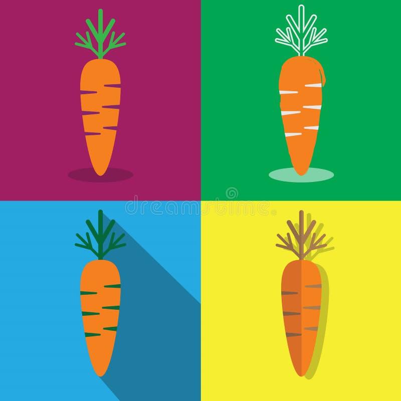 Carote nelle icone differenti di progettazioni messe illustrazione di stock