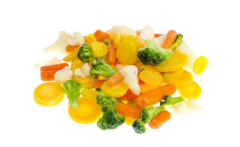 Carote rosse e gialle congelate dei broccoli, del cavolfiore, fotografia stock