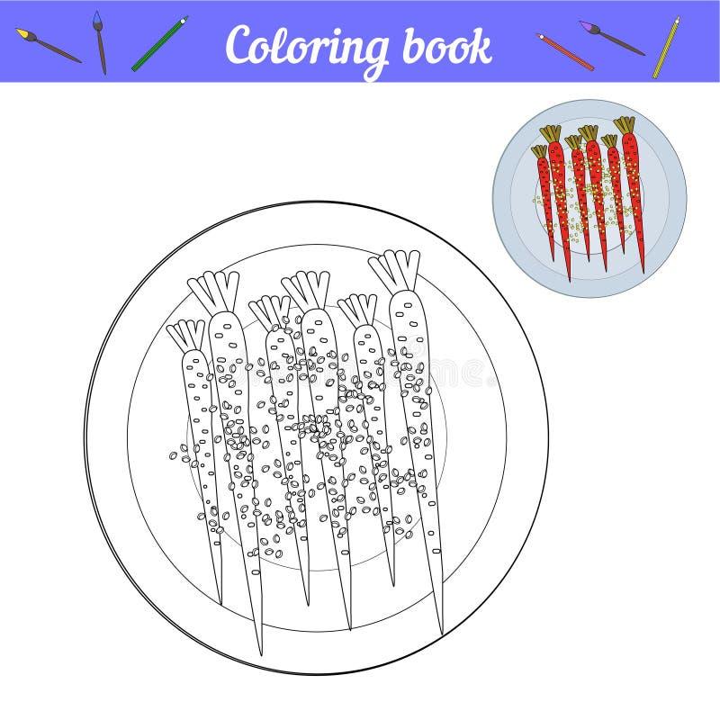 Carote su un piatto Pranzo o cena di verniciatura Pagina delle linee in bianco e nero con un esempio di colore Icona adeguata di  illustrazione vettoriale