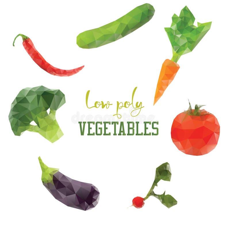 Carotte, brocoli, poivre, tomate Légumes de vegan de régime bas poly illustration de vecteur