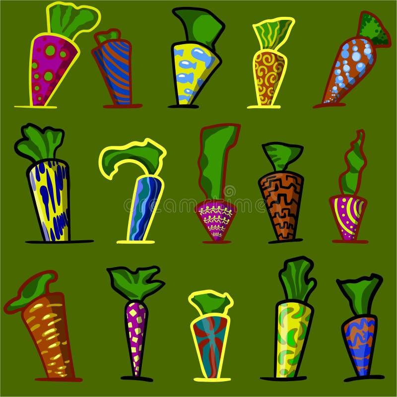 Carottes et plantes semblables dans un style coloré lumineux photos stock