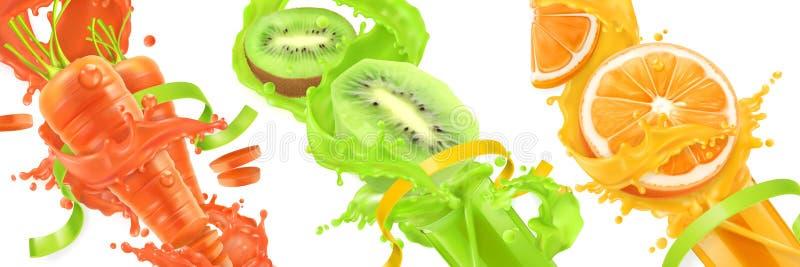 Carottes, kiwi, éclaboussure orange de jus Se d'icône du vecteur 3d illustration stock