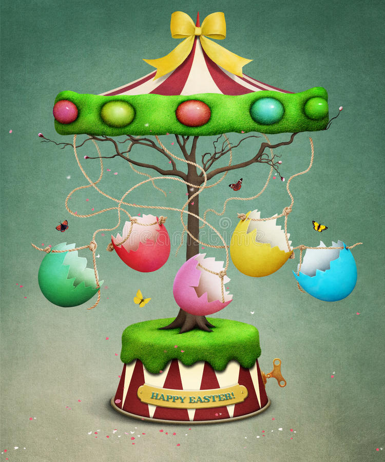 Carousel дерева пасхи бесплатная иллюстрация