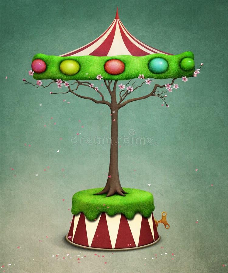 Carousel дерева пасхи иллюстрация штока