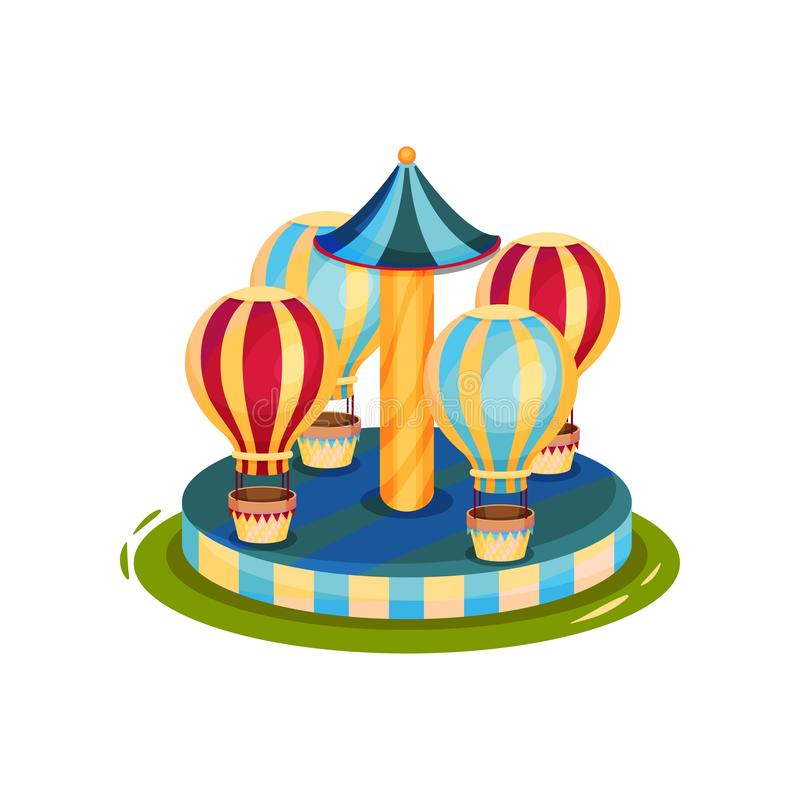 Carousel with air balloons. Merry-go-round for family entertainment. Circus and carnival theme. Cartoon vector design stock illustration