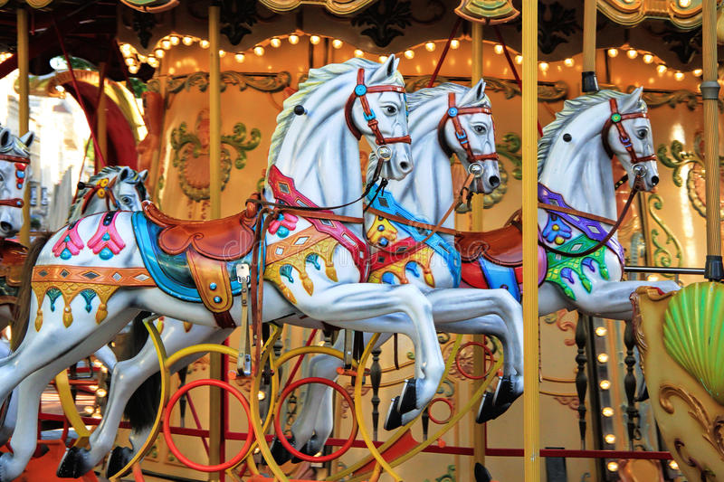 Carousel in Avignon, France stock photography