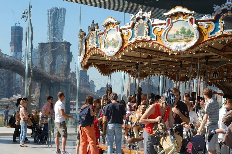 Carousel At Brooklyn Bridge In New York City Editorial Stock Image