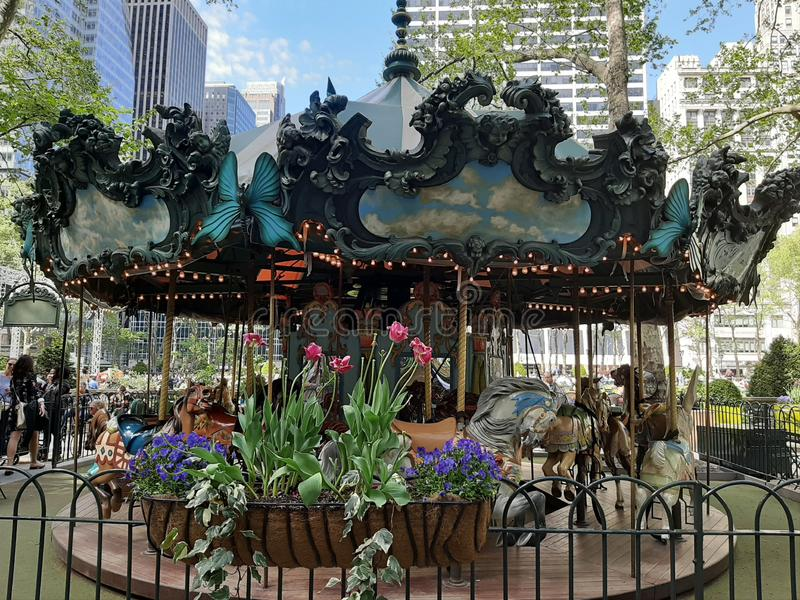 Carousel in Bryant Park. Picture of the carousel in Bryant Park, Manhattan, New York City royalty free stock photos