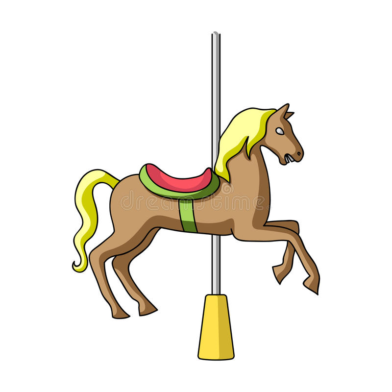Carousel for children. Horse on the pole for riding.Amusement park single icon in cartoon style vector symbol stock royalty free illustration