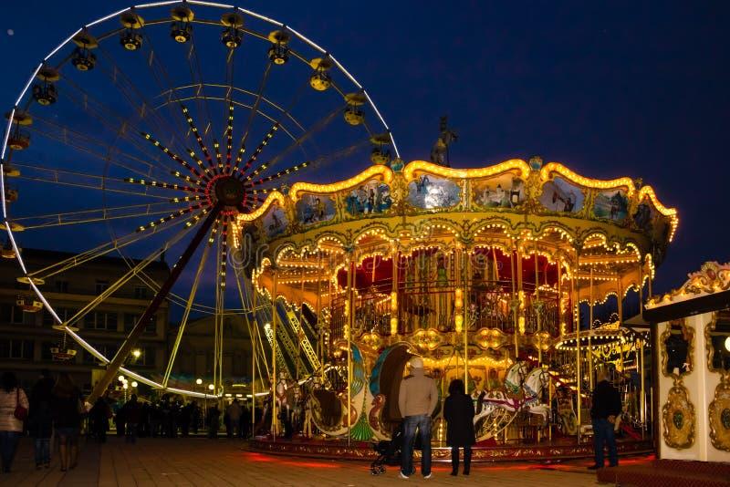 Carousel at the Christmas fair. Carcassonne. France stock image