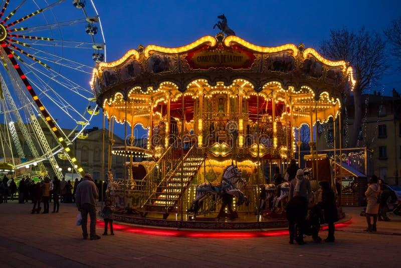 Carousel at the Christmas fair. Carcassonne. France royalty free stock photography