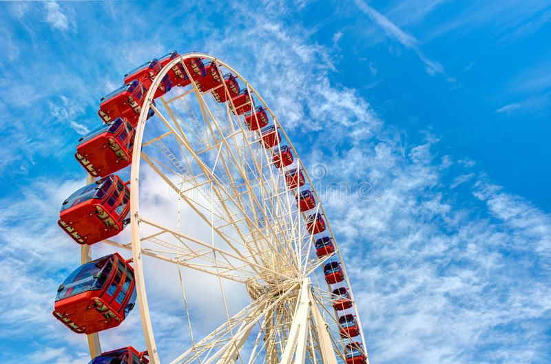 Carousel with clouds and sky royalty free stock photography