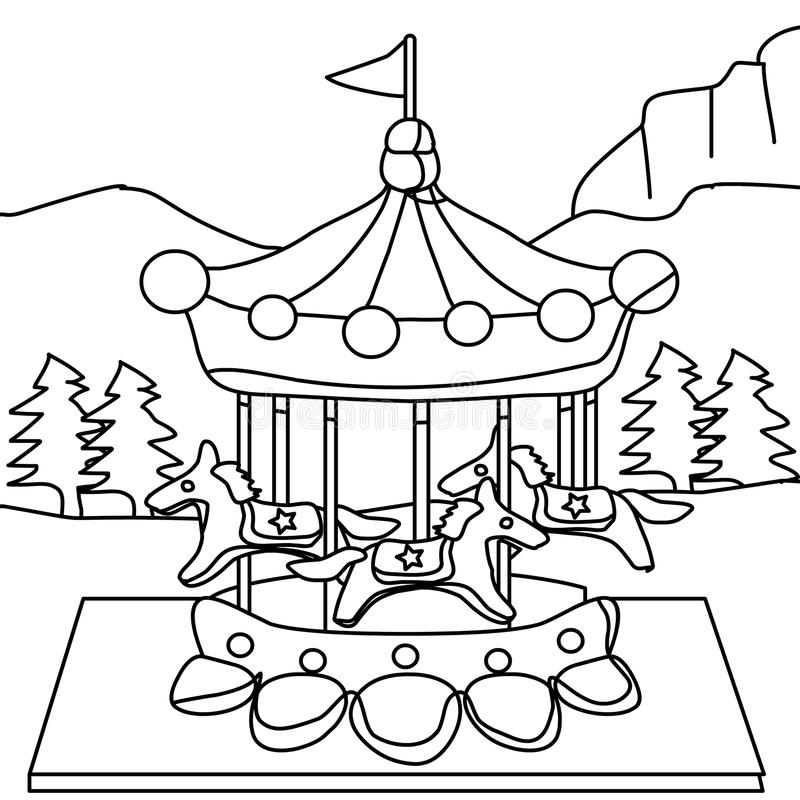 Carousel coloring page stock illustration. Illustration of isolated ...