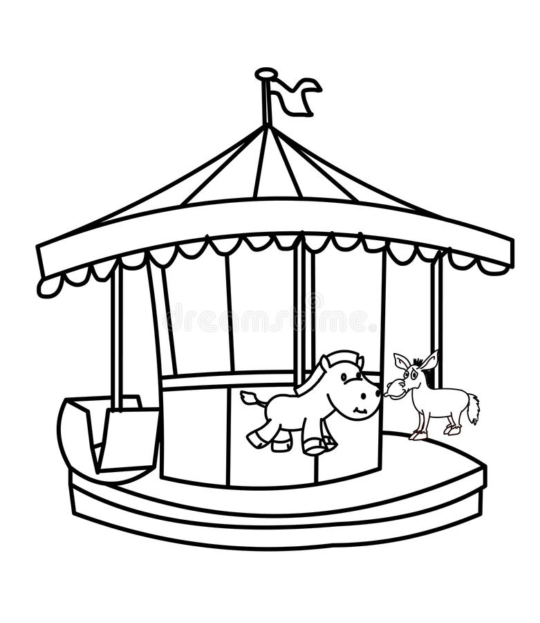 Carousel coloring page stock illustration. Illustration of holiday ...