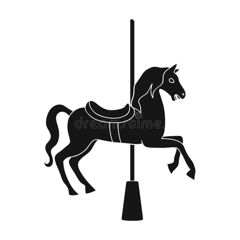 Carousel dla dzieci Koń na słupie dla jechać Park rozrywki pojedyncza ikona w czerń stylu symbolu wektorowym zapasie royalty ilustracja