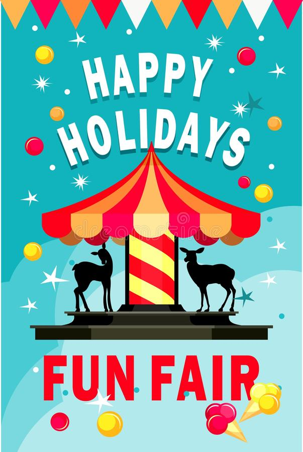 Carousel fun fair vector illustration