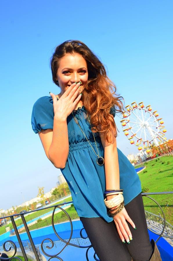 Carousel girl stock image