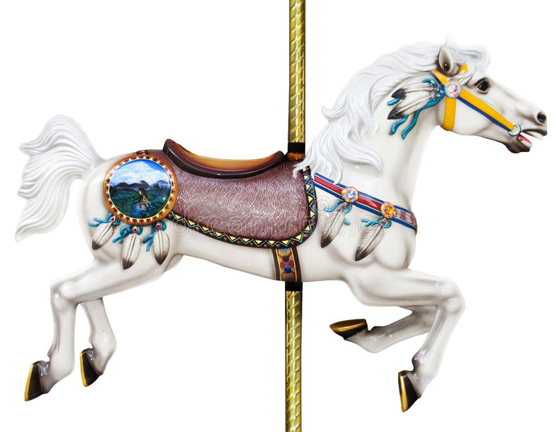 Carousel horse. A white carousel merry go round horse isolated on a white background