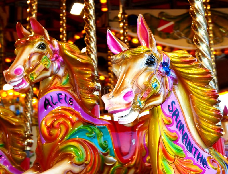 Download Carousel Horses Stock Image Of Colourful