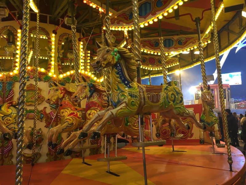 Carousel horses in Hull fair stock images