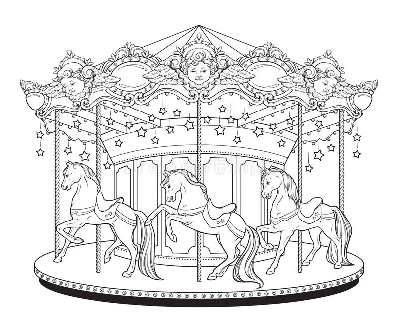 Download Carousel Cute Merry Go Round With Horses Coloring Book Pages For Kids And Adults Hand