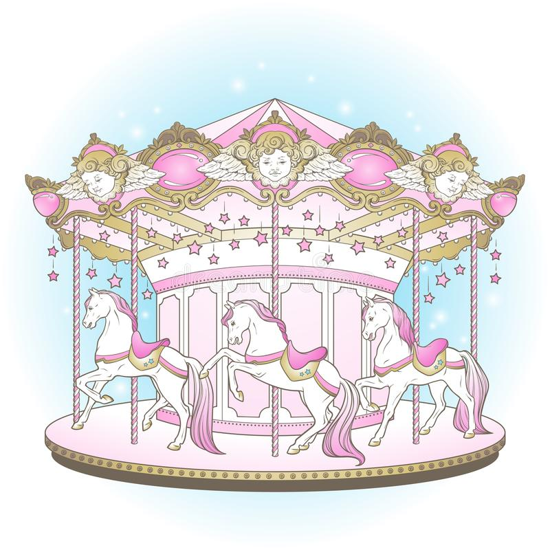 Download Carousel Cute Merry Go Round With Horses Design For Kids In Pastel Colors Hand Drawn