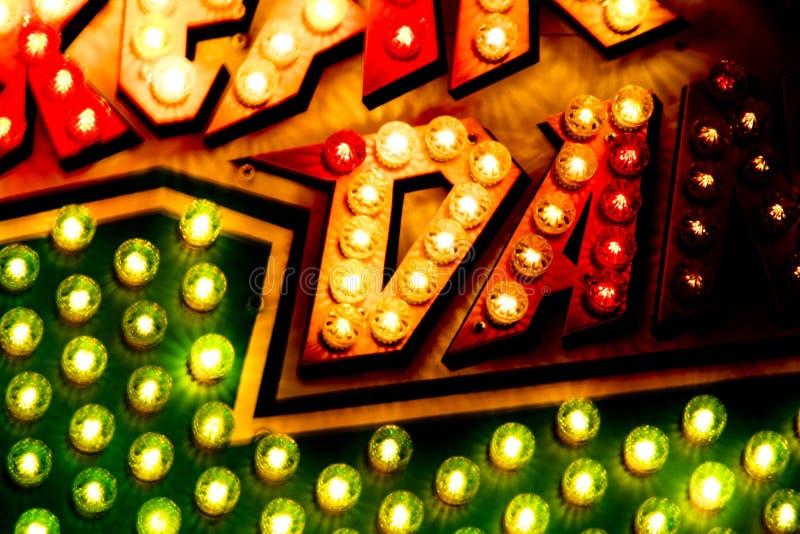 Carousel Lights Sign Closeup
