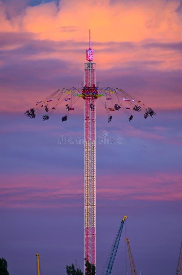 Carousel during the night stock photos