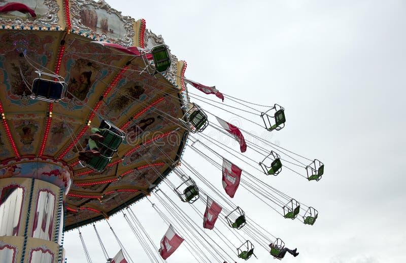 Carousel przy park rozrywki zdjęcie royalty free