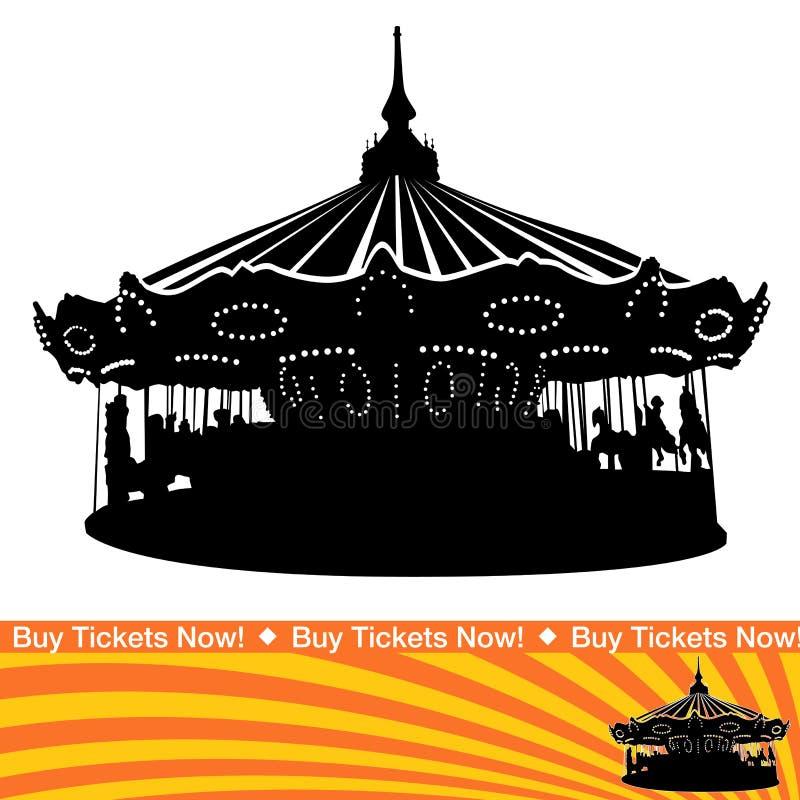 Carousel Ride Silhouette vector illustration