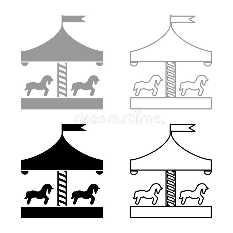 Carousel roundabout merry-go-round Vintage merry-go-round icon set black color vector illustration flat style image. Carousel roundabout merry-go-round Vintage royalty free illustration