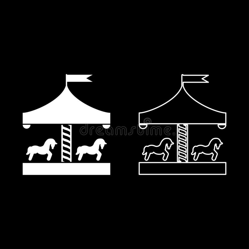 Carousel roundabout merry-go-round Vintage merry-go-round icon set white color vector illustration flat style image. Carousel roundabout merry-go-round Vintage royalty free illustration