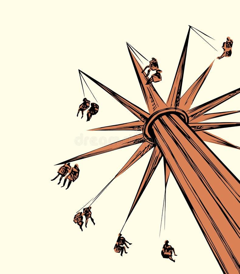 carousel rysuje t?a trawy kwiecistego wektora ilustracji