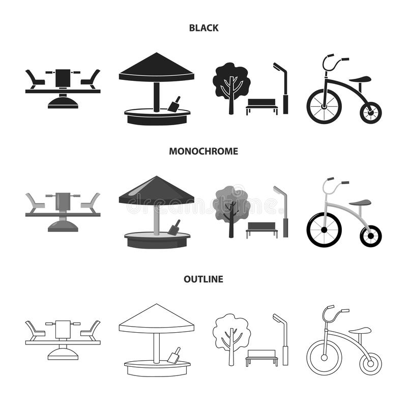 Carousel, sandbox, park, tricycle. Playground set collection icons in black,monochrome,outline style vector symbol stock vector illustration