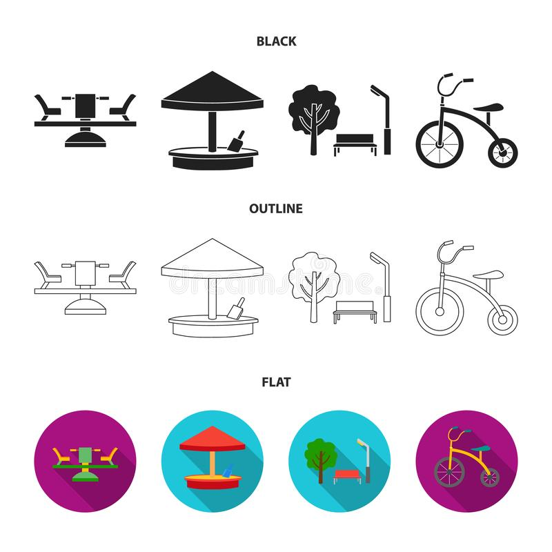 Carousel, sandbox, park, tricycle. Playground set collection icons in cartoon style vector symbol stock illustration web vector illustration