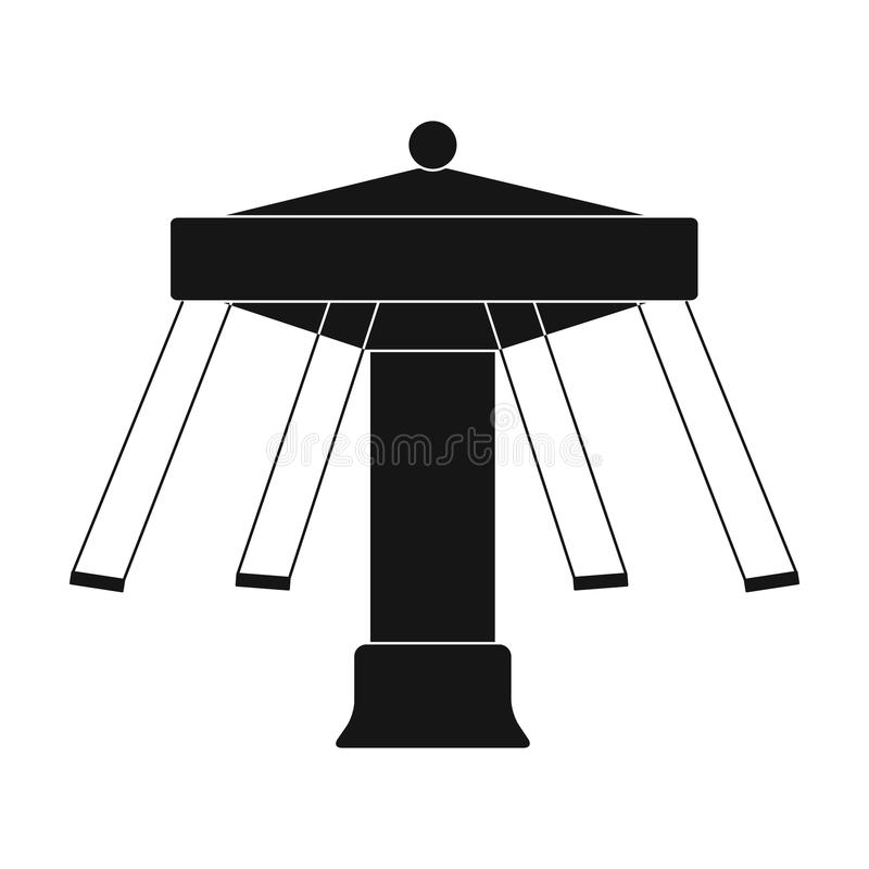 Carousel with seats on chains for children. Amusement park.Amusement park single icon in black style vector symbol stock stock illustration