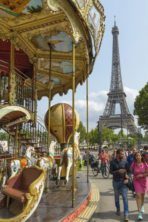 Carousel and Tower Eiffel in Paris, France stock image
