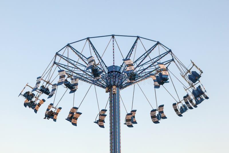Carousel Tower at the Kemah Boardwalk, Texas. KEMAH, USA - APR 14: High swing carousel tower at the Kemah Boardwalk. April 14, 2016 in Kemah, Texas, United royalty free stock photography