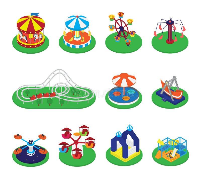 Carousel wektorowa karuzela, rondo lub karnawał cyrkowe ikony parka rozrywki ilustracyjny ustawiający round ilustracja wektor