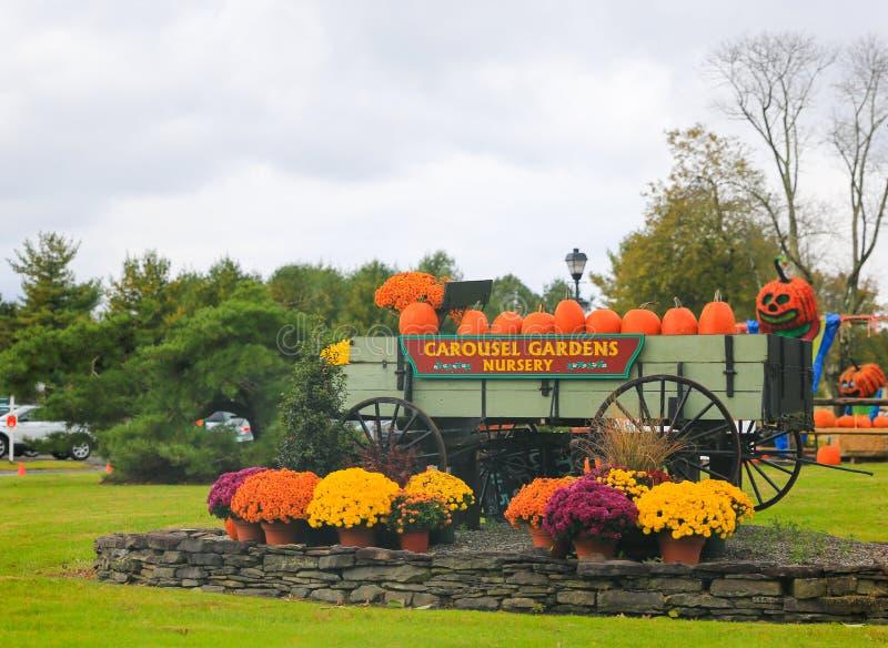CAROUSEL wioski choinki gospodarstwo rolne, Halloweenowa dekoracja fotografia royalty free