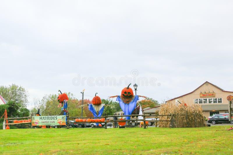 CAROUSEL wioski choinki gospodarstwo rolne, Halloweenowa dekoracja fotografia stock