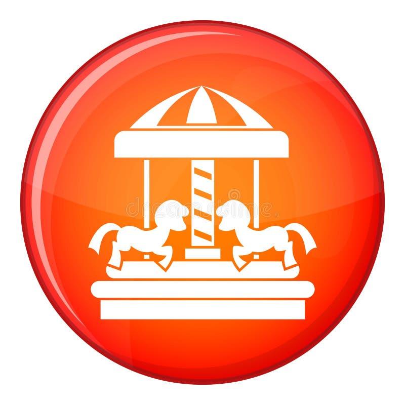 Carousel z koń ikoną, mieszkanie styl ilustracja wektor
