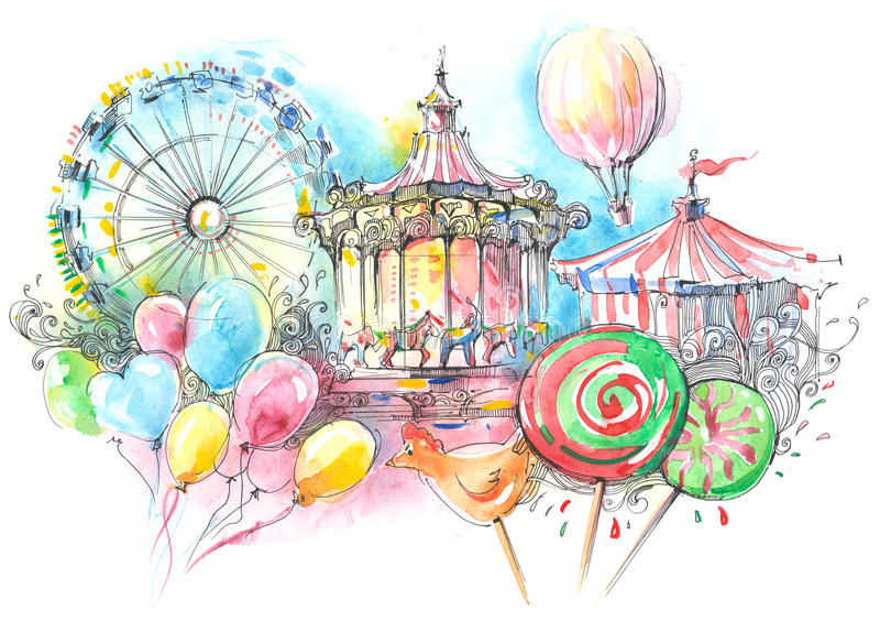 carousels иллюстрация штока