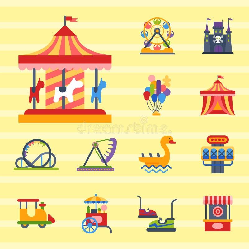 Carousels amusement attraction park side-show kids outdoor entertainment construction vector illustration. stock illustration