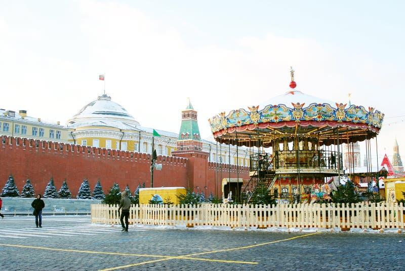 Caroussel op het Rode Vierkant in Moskou in de winter stock afbeelding