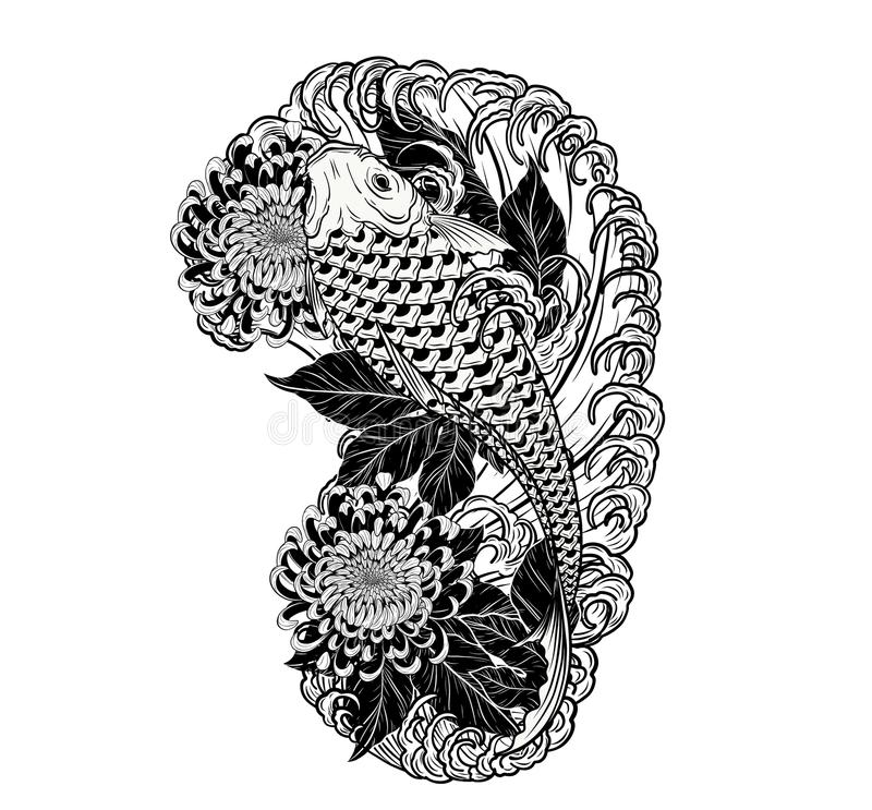 Carp fish and chrysanthemum tattoo by hand drawing. royalty free illustration