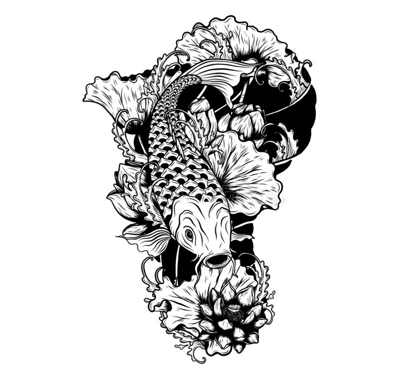 Carp fish with lotus vector tattoo by hand drawing vector illustration