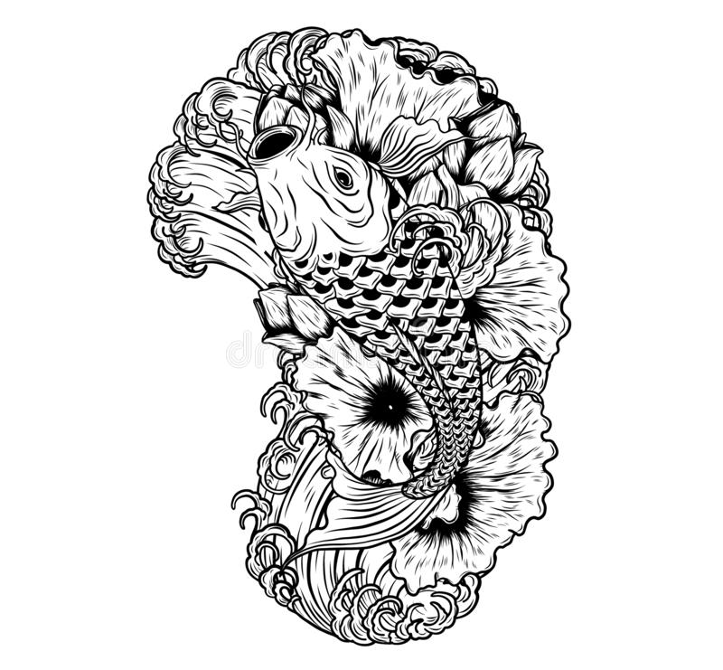 Carp fish with lotus vector tattoo by hand drawing royalty free illustration