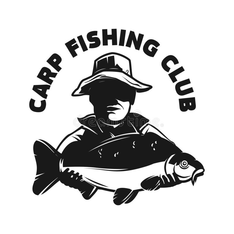 Free Carp Fishing Club. Emblem Template With Carp Fish And Fisherman. Design Element For Logo, Label, Sign, Poster. Stock Photography - 217346852